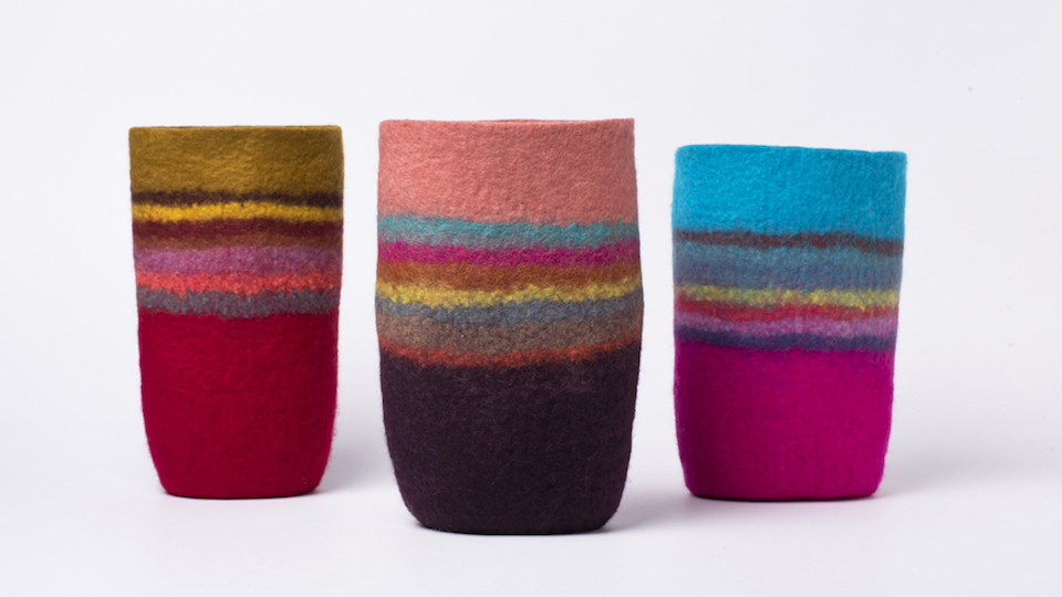 Three felt vessels